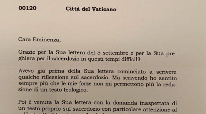 Papa Benedetto XVI scrive a Cardinale Sarah – Le lettere